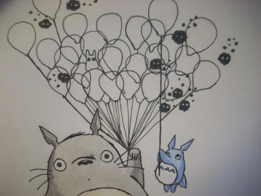 Рисуем Тоторо с Шариками из аниме Мой сосед Тоторо - шаг 11