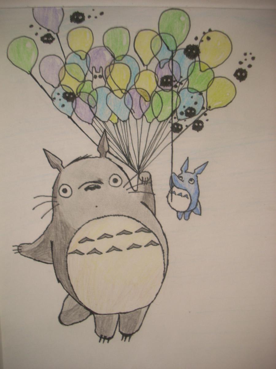 Как нарисовать Тоторо с Шариками из аниме Мой сосед Тоторо поэтапно