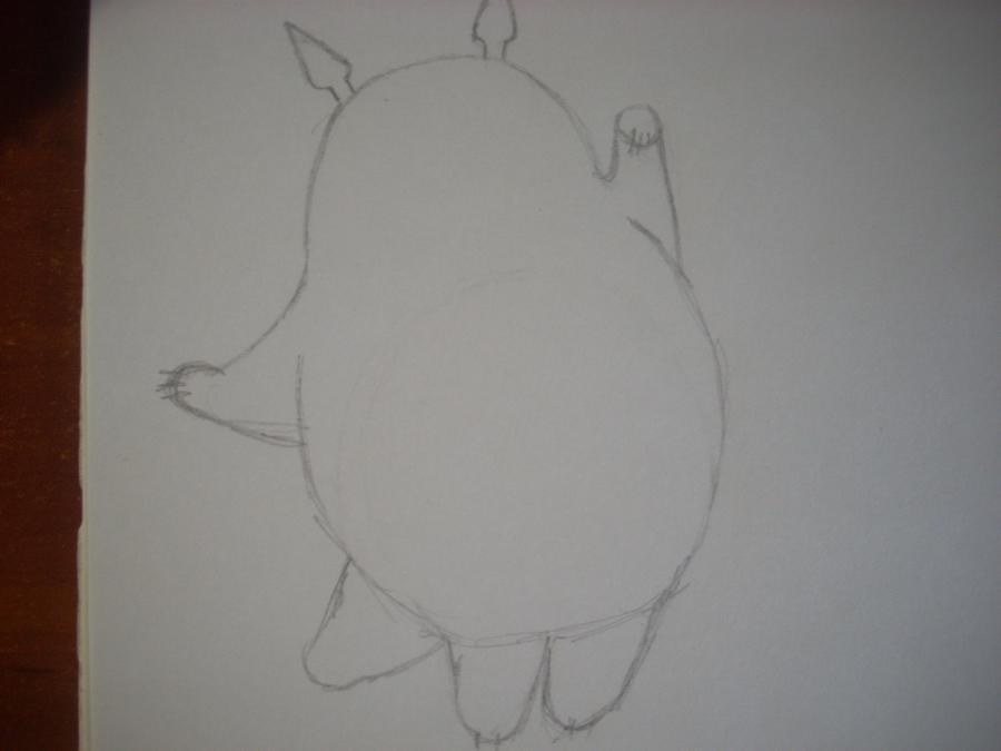 Рисуем Тоторо с Шариками из аниме Мой сосед Тоторо - шаг 2