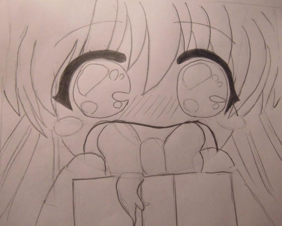 Как нарисовать удивленую подарком аниме девочку поэтапно