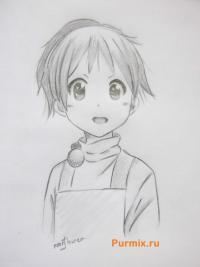 Фото Уи Хирасаву из аниме K-on карандашом