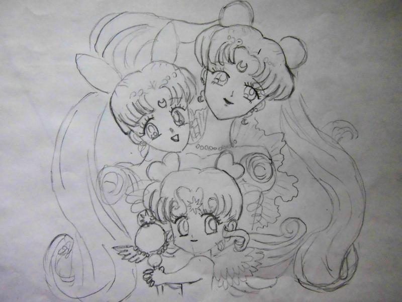 Как нарисовать Усаги, Малышку, Чиби-чиби карандашом