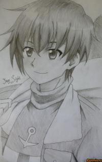 Вэйва из аниме Убийца Акаме простым карандашом