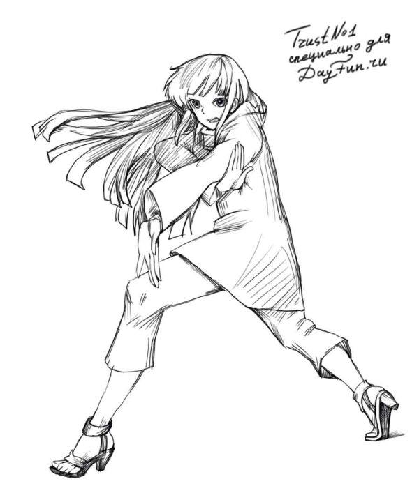 Рисуем Хинату Хьюга из аниме Наруто - шаг 4