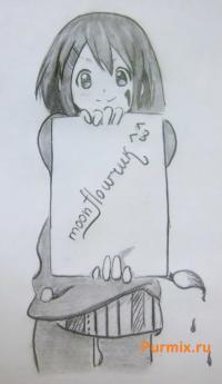 Юи Хирасаву из K-on карандашом