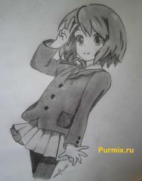 Фото Юи Хирасаву из аниме Клуб легкой музыки карандашом