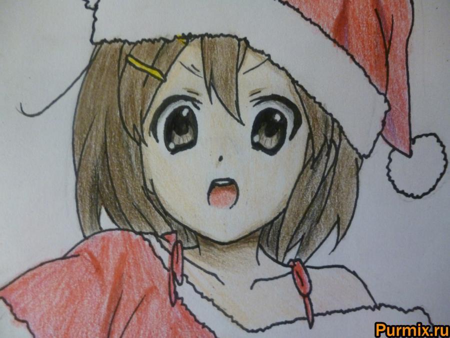 Рисуем Юи Хирасаву в новогоднем костюме цветными карандашами - фото 10