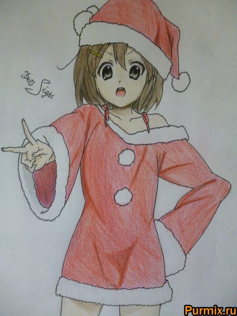 Рисуем Юи Хирасаву в новогоднем костюме цветными карандашами - фото 11