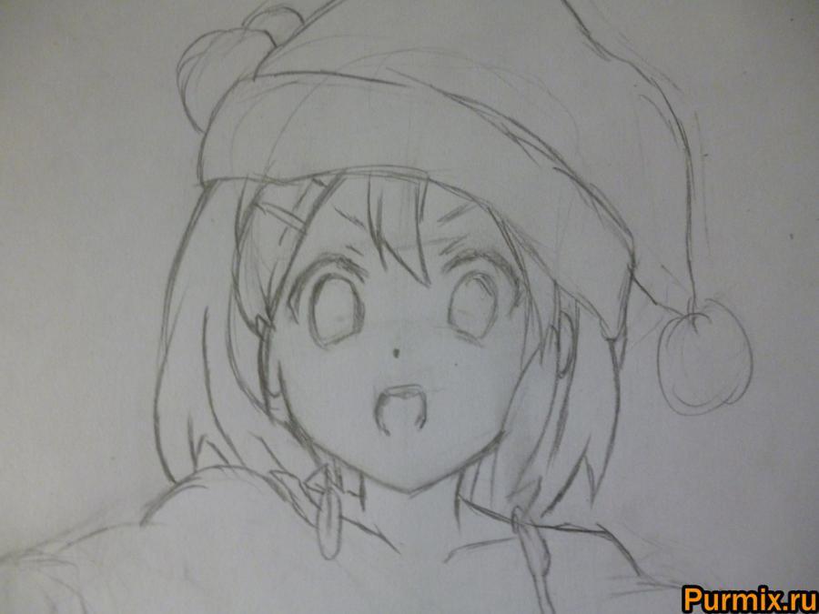 Рисуем Юи Хирасаву в новогоднем костюме цветными карандашами - фото 3