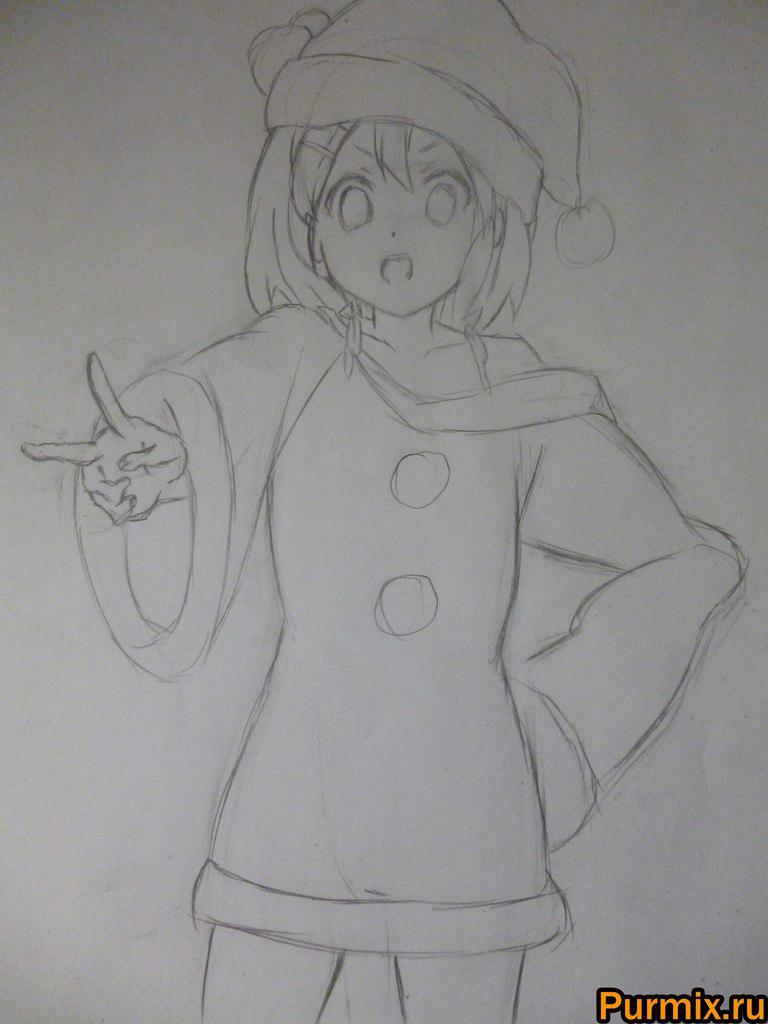 Рисуем Юи Хирасаву в новогоднем костюме цветными карандашами - фото 4