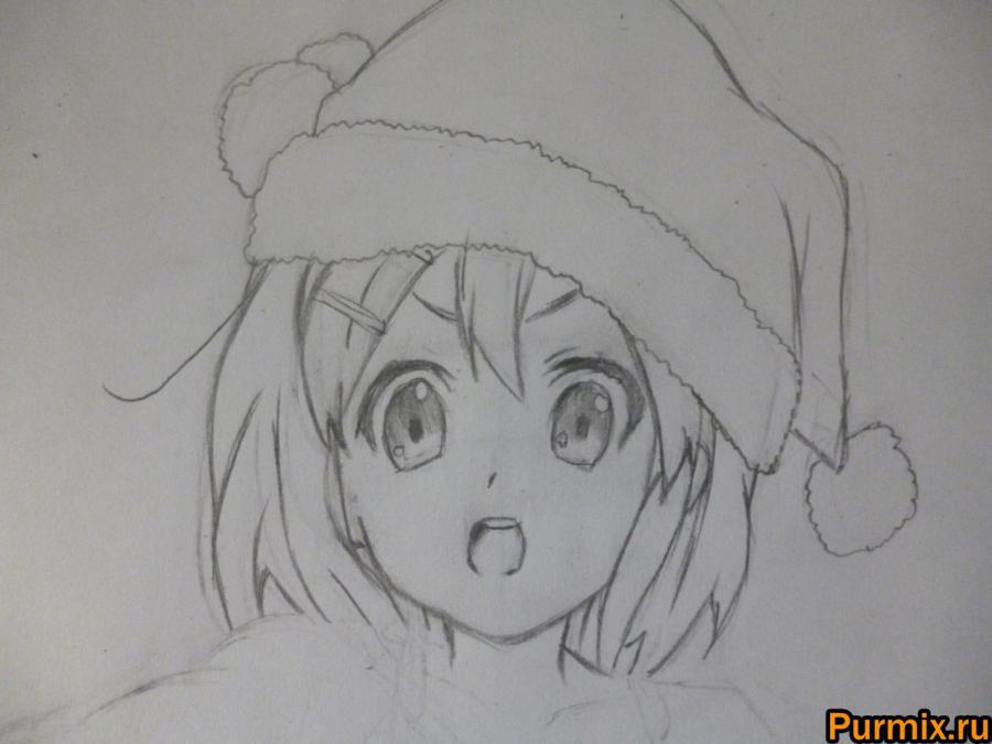 Рисуем Юи Хирасаву в новогоднем костюме цветными карандашами - фото 5