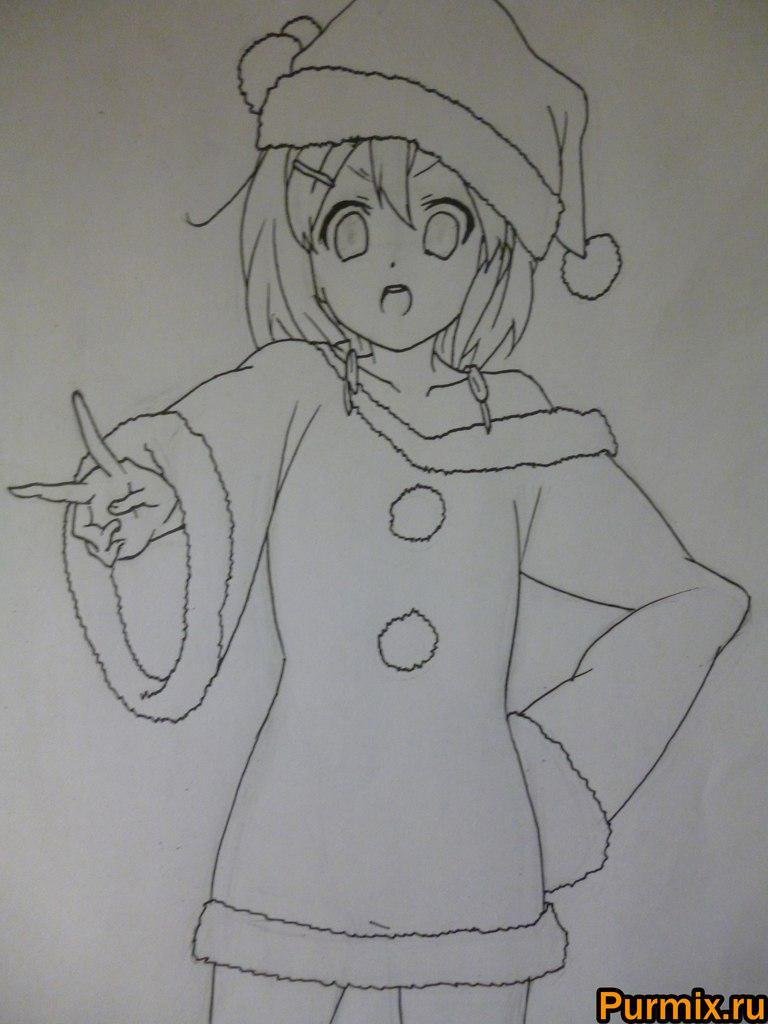 Рисуем Юи Хирасаву в новогоднем костюме цветными карандашами - фото 6