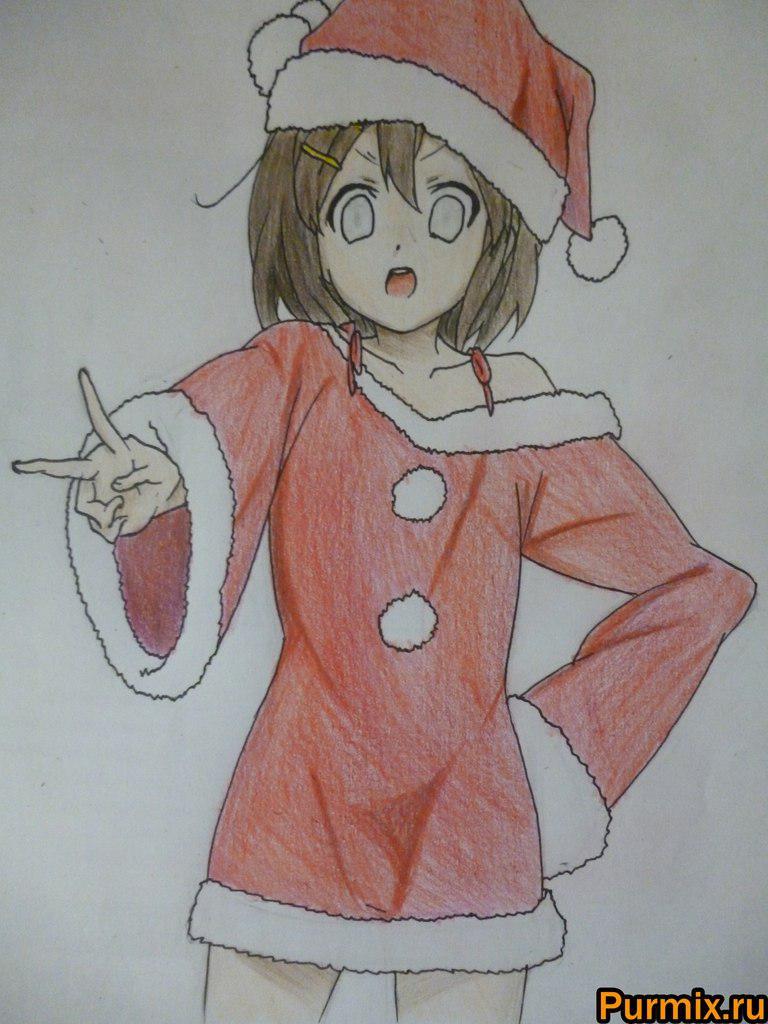 Рисуем Юи Хирасаву в новогоднем костюме цветными карандашами - фото 9