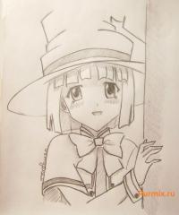 Юкари Сэндо из Розарио + Вампир простым карандашом