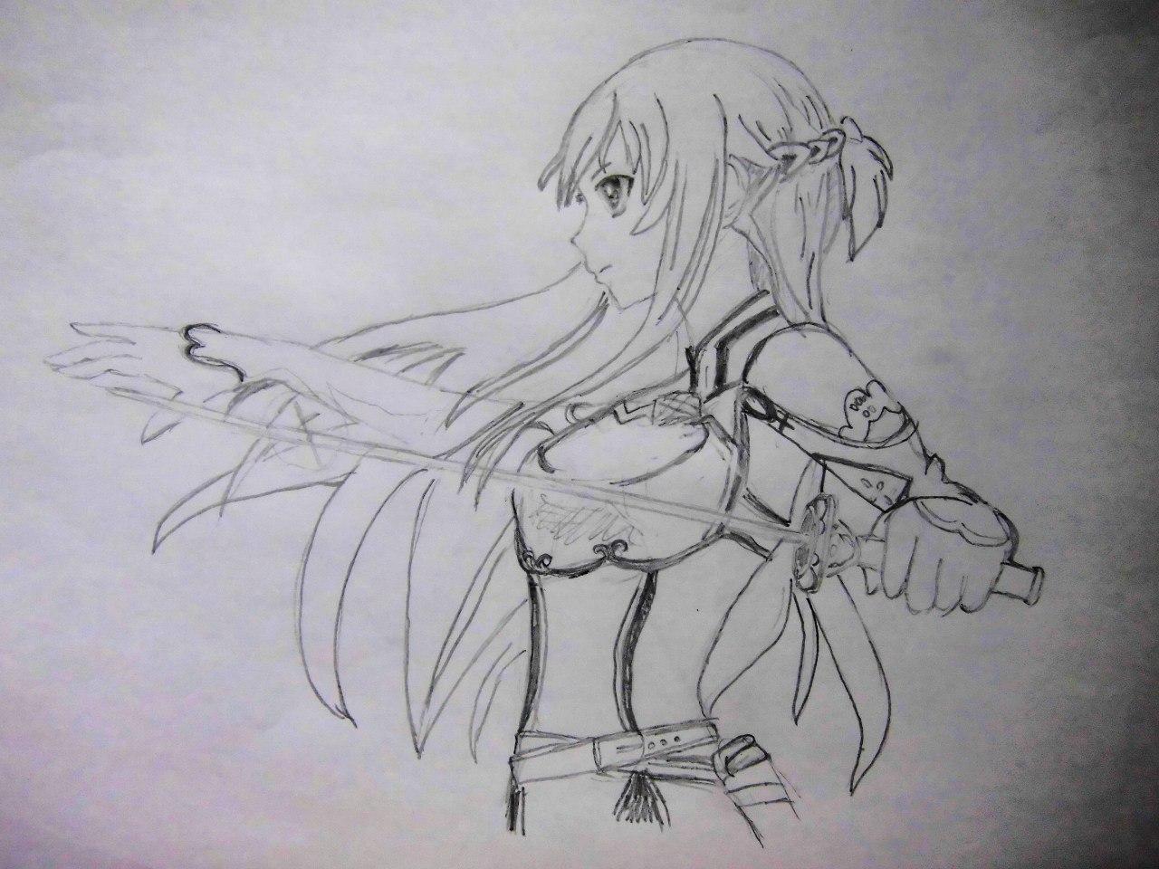 Учимся рисовать Юки Асуну из аниме Мастера меча онлайн карандашами - фото 4