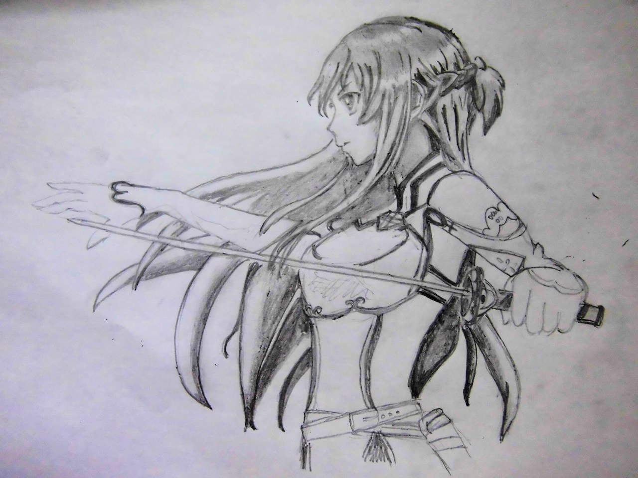 Учимся рисовать Юки Асуну из аниме Мастера меча онлайн карандашами - фото 5