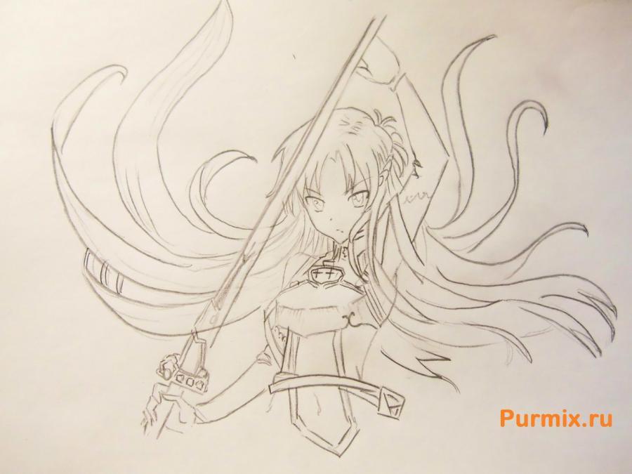 Учимся рисовать Юки Асуну из аниме Мастера меча онлайн карандашами - шаг 4
