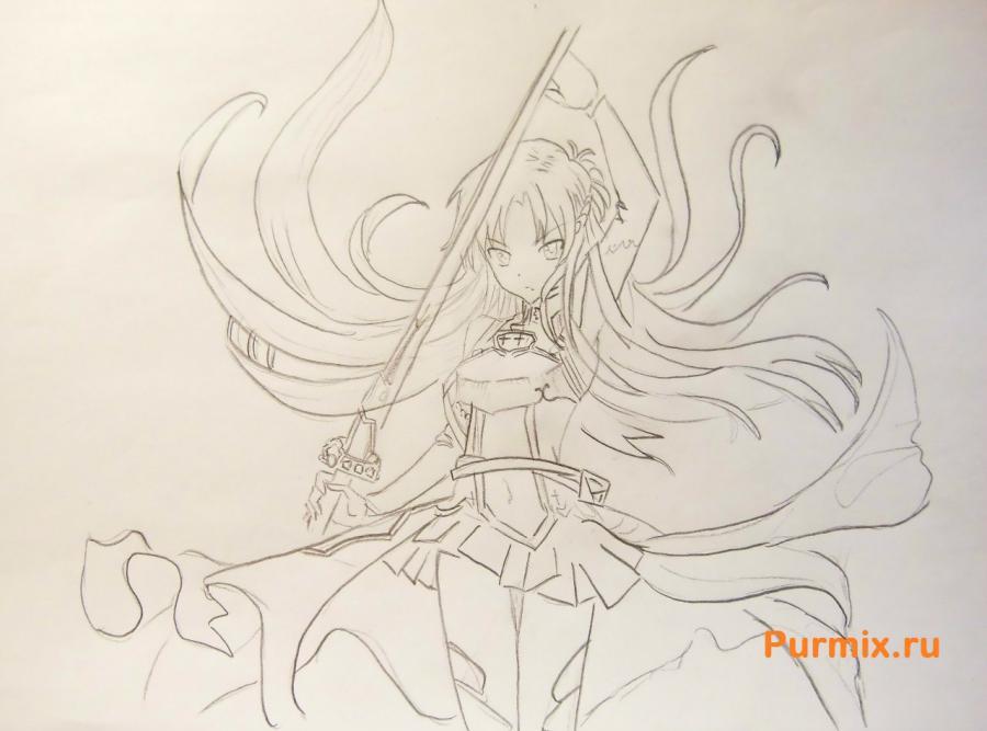 Рисуем Юки Асуну в полный рост - фото 5
