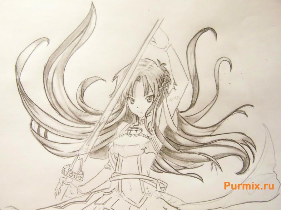 Учимся рисовать Юки Асуну из аниме Мастера меча онлайн карандашами - шаг 7