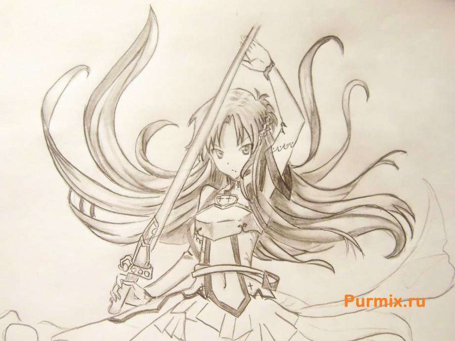 Учимся рисовать Юки Асуну из аниме Мастера меча онлайн карандашами - шаг 8