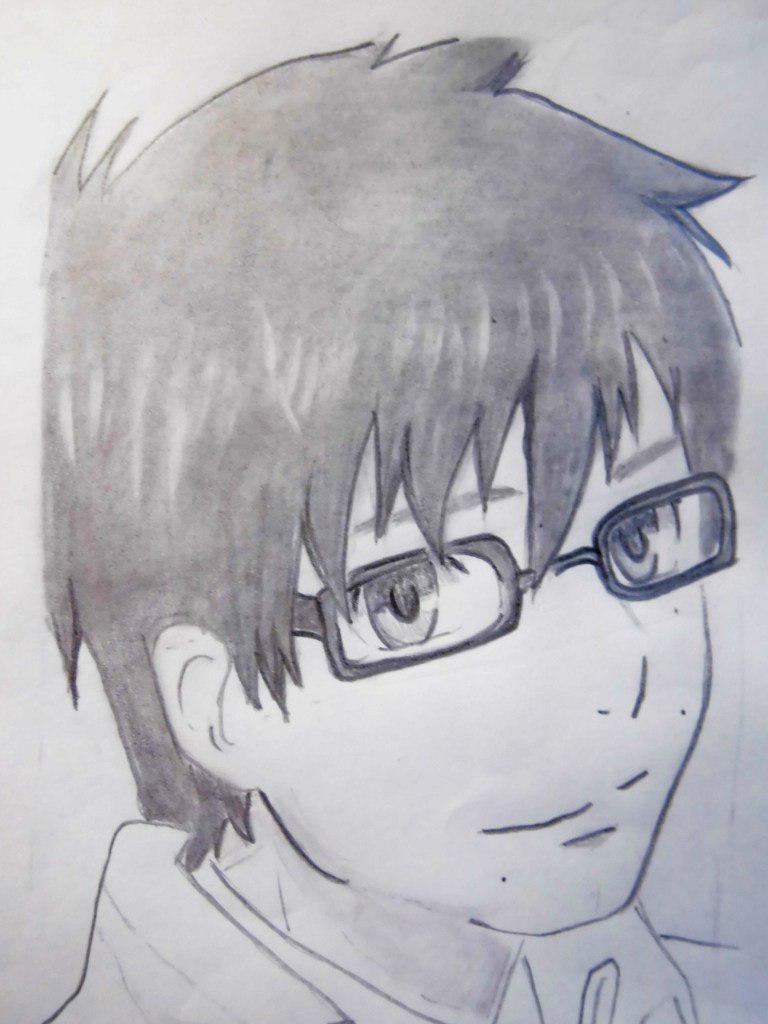 Как нарисовать Юкио Окумура из аниме Синий Экзорцис поэтапно