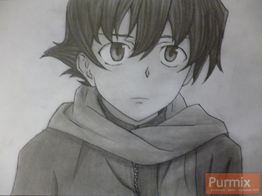 Рисуем Юкитэру Амано карандашами - шаг 12
