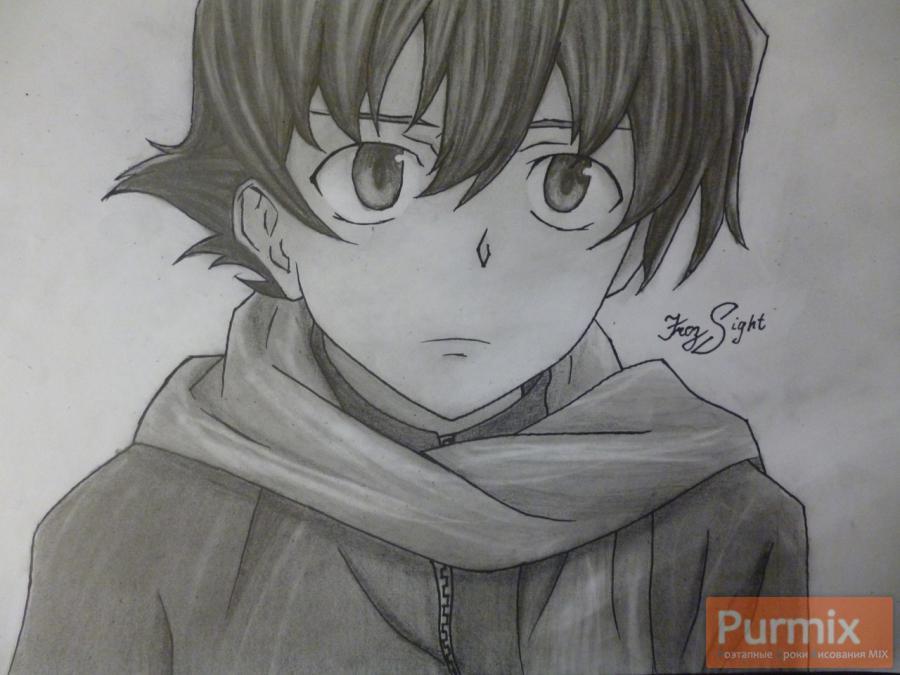 Рисуем Юкитэру Амано карандашами - шаг 13