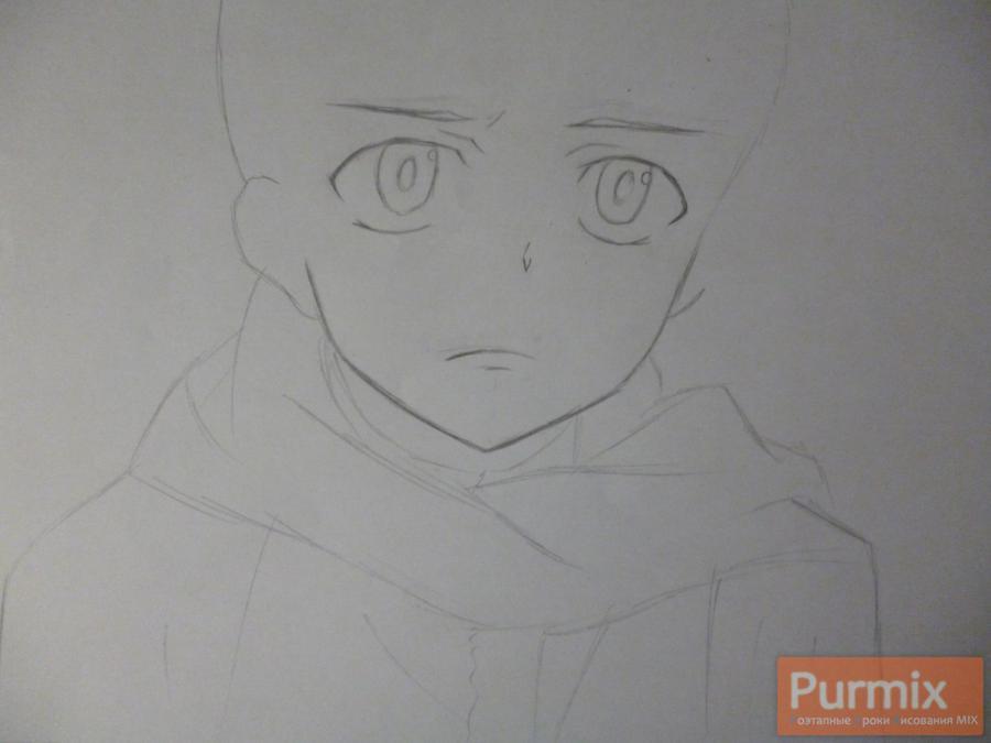 Рисуем Юкитэру Амано карандашами - шаг 2