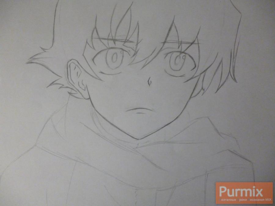 Рисуем Юкитэру Амано карандашами - шаг 3