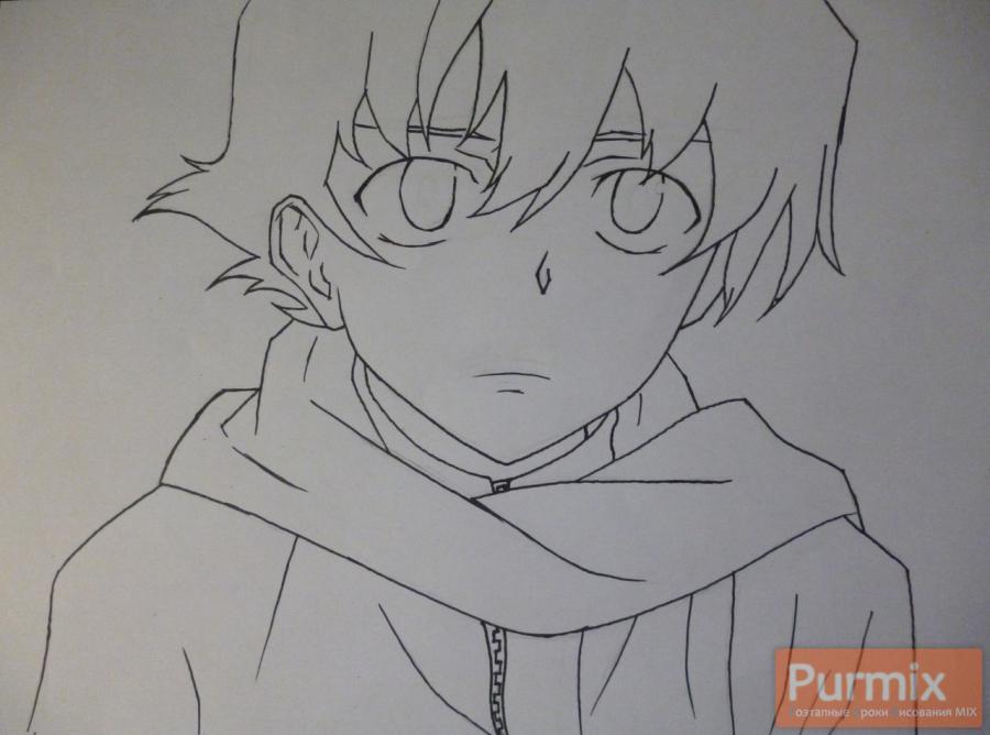 Рисуем Юкитэру Амано карандашами - шаг 4