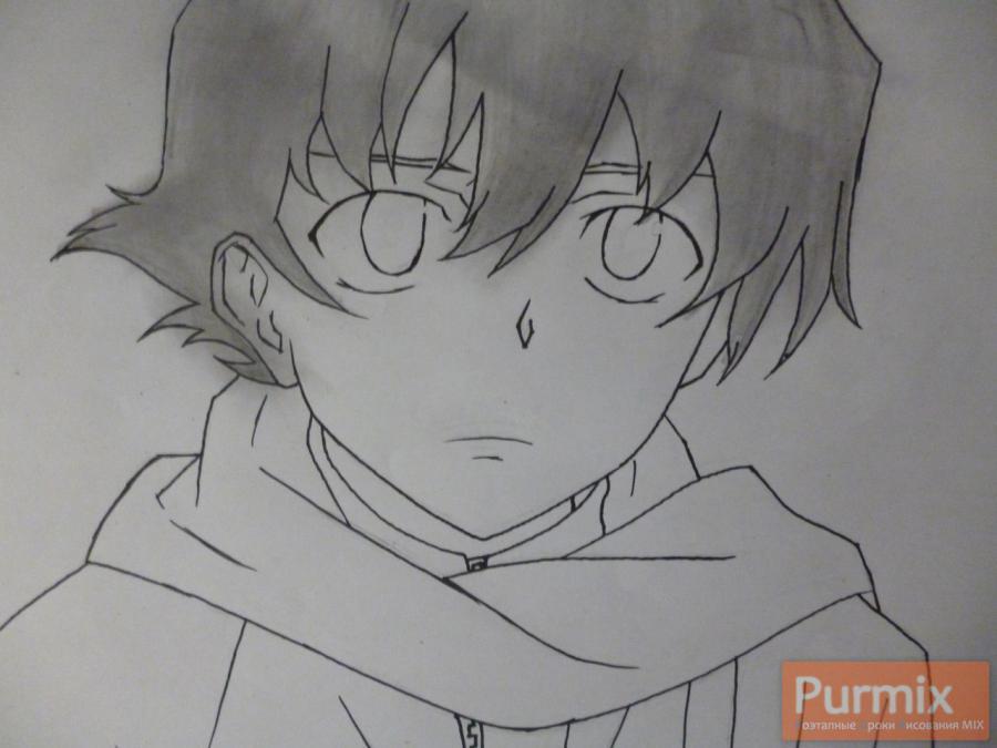 Рисуем Юкитэру Амано карандашами - шаг 5