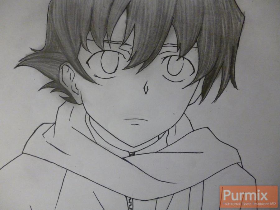 Рисуем Юкитэру Амано карандашами - шаг 6