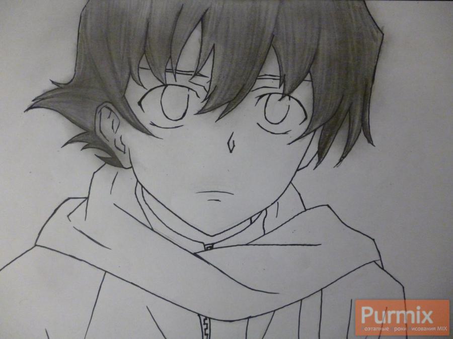 Рисуем Юкитэру Амано карандашами - шаг 7