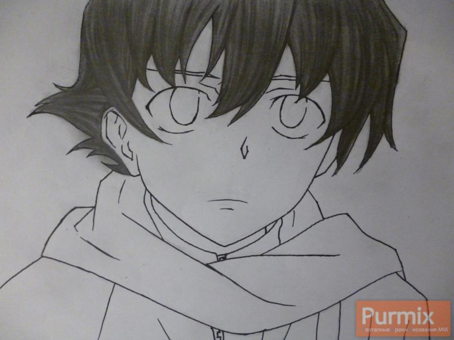 Рисуем Юкитэру Амано карандашами - шаг 8