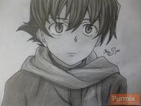 Рисунок Юкитэру Амано из аниме Дневник будущего