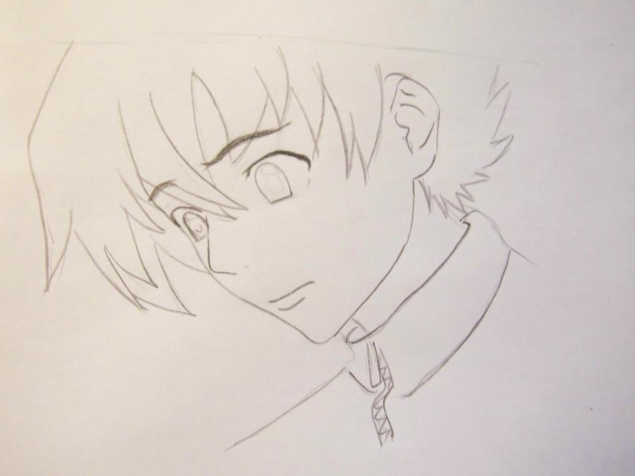 Рисуем Юкитэру Амано из аниме Дневник будущего - шаг 3