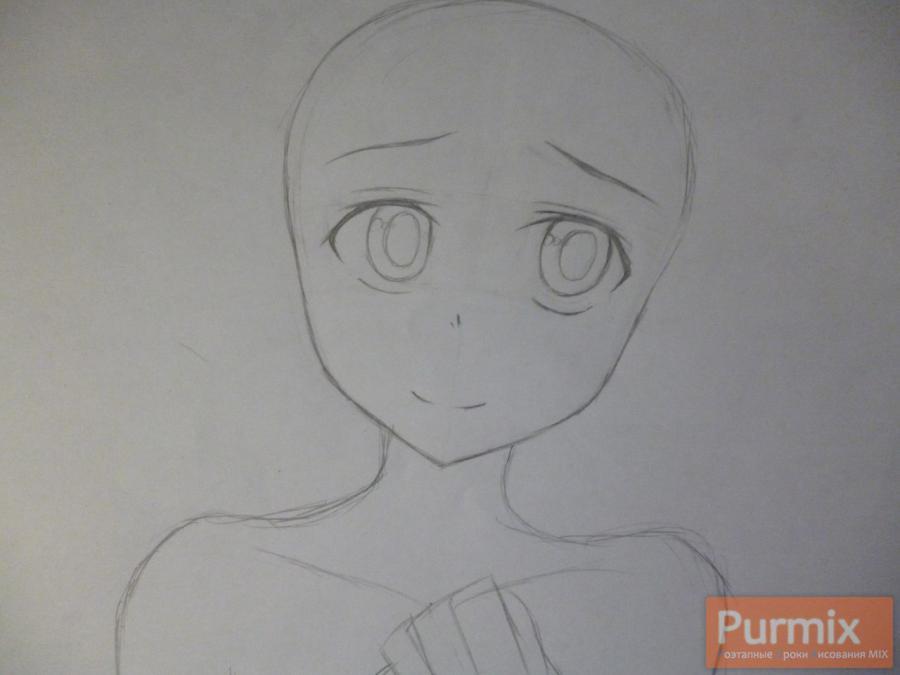 Рисуем невесту Юно Гасай карандашами - шаг 2