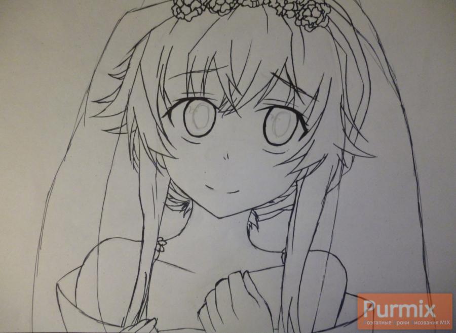 Рисуем невесту Юно Гасай карандашами - шаг 3