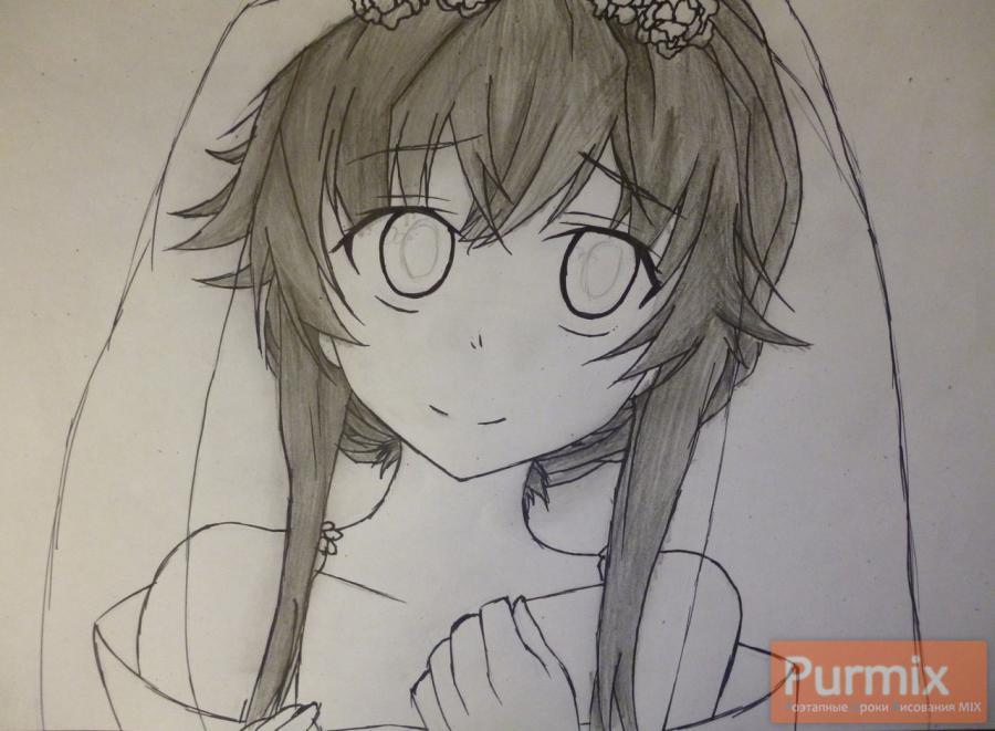 Рисуем невесту Юно Гасай карандашами - шаг 5