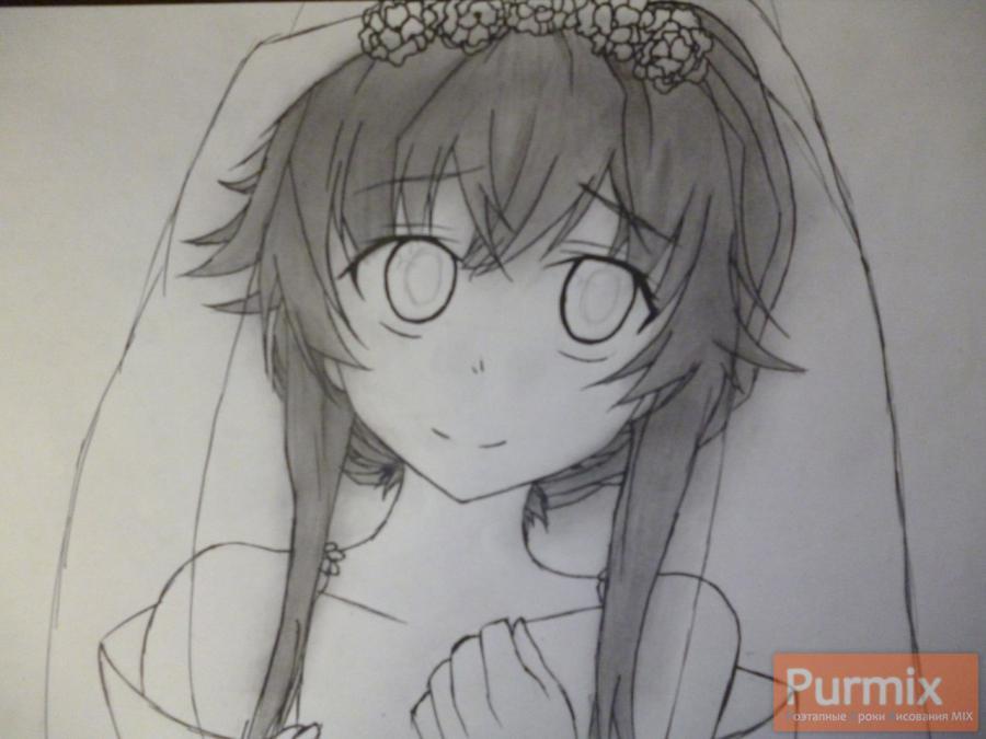 Рисуем невесту Юно Гасай карандашами - шаг 6