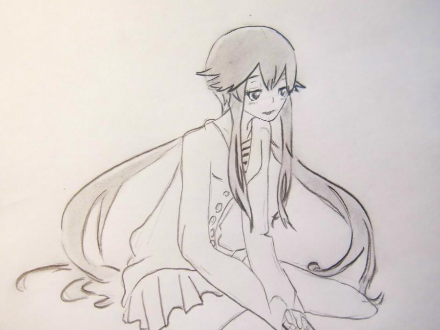 Как нарисовать Юно Гасай из аниме Дневник будущего карандашом
