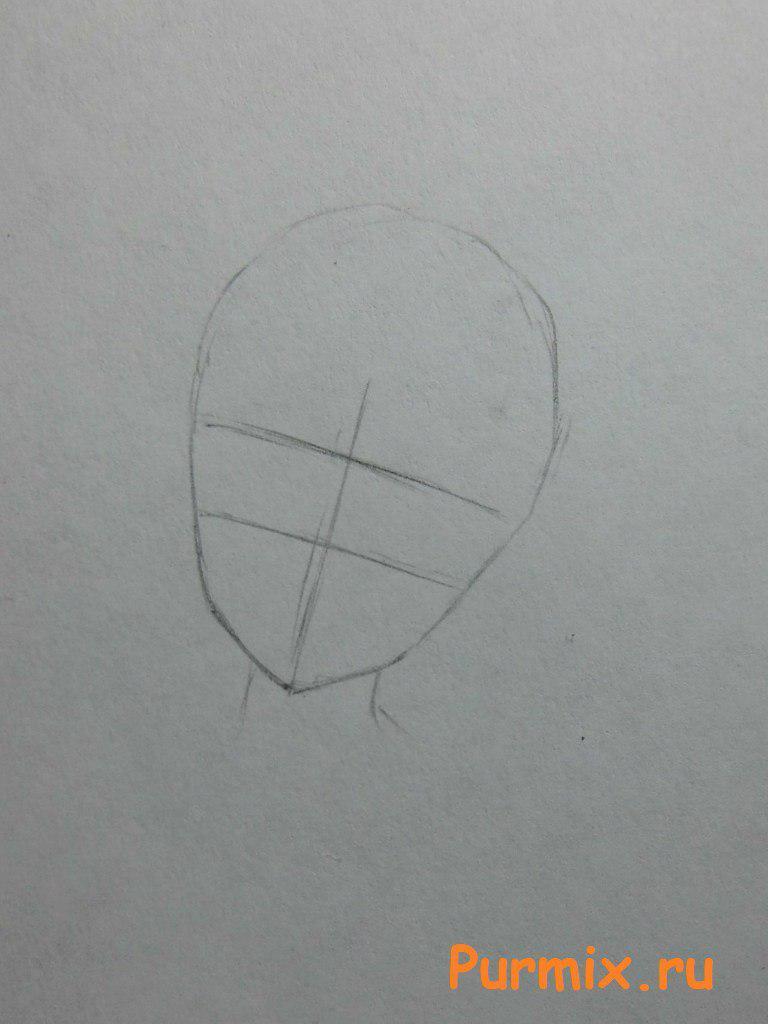 Рисуем Юно Гасай в новогоднем костюме карандашами - шаг 1
