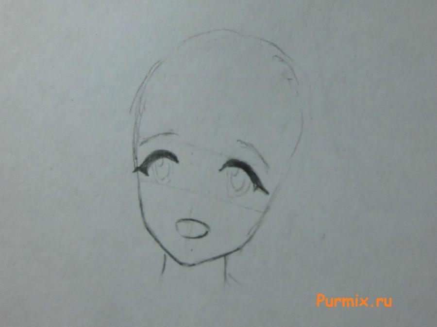 Рисуем Юно Гасай в новогоднем костюме карандашами - шаг 2