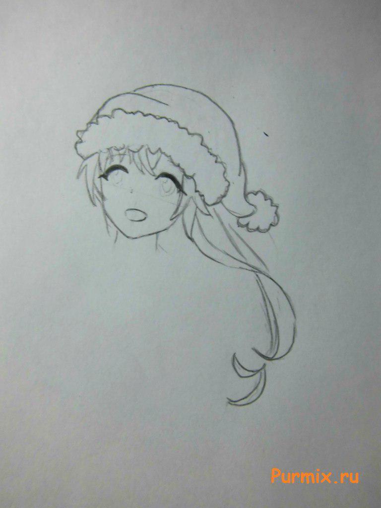 Рисуем Юно Гасай в новогоднем костюме карандашами - шаг 3