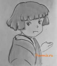 Как нарисвоать Каё Хорикоси из анимационного фильма  Ветер Крепчает