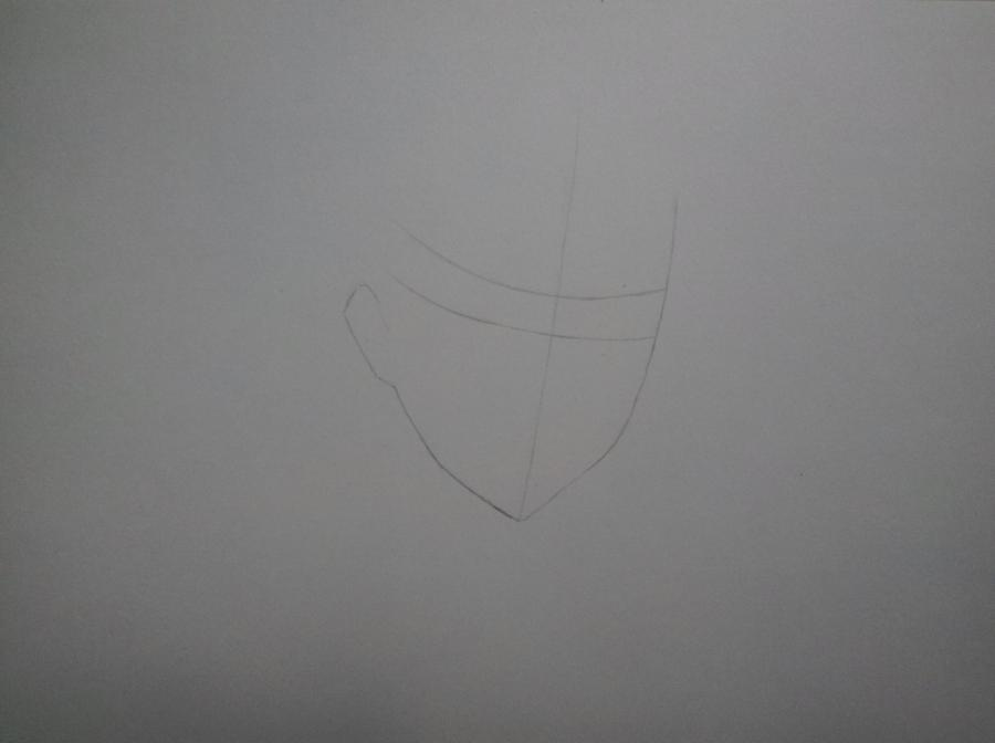 Рисуем портрет Леви Аккермана из Вторжение Титанов - шаг 1