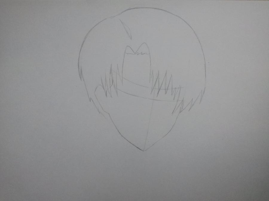 Рисуем портрет Леви Аккермана из Вторжение Титанов - шаг 2