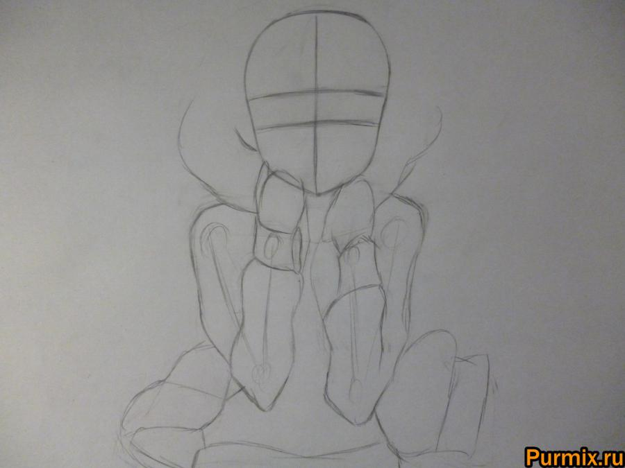 Как научиться рисовать Рицу Тайнака карандашами и маркером - шаг 1