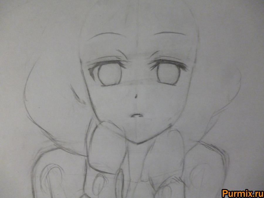 Как научиться рисовать Рицу Тайнака карандашами и маркером - шаг 2