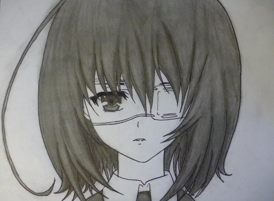 Как простым нарисовать Мэй Мисаки карандашами - фото 10